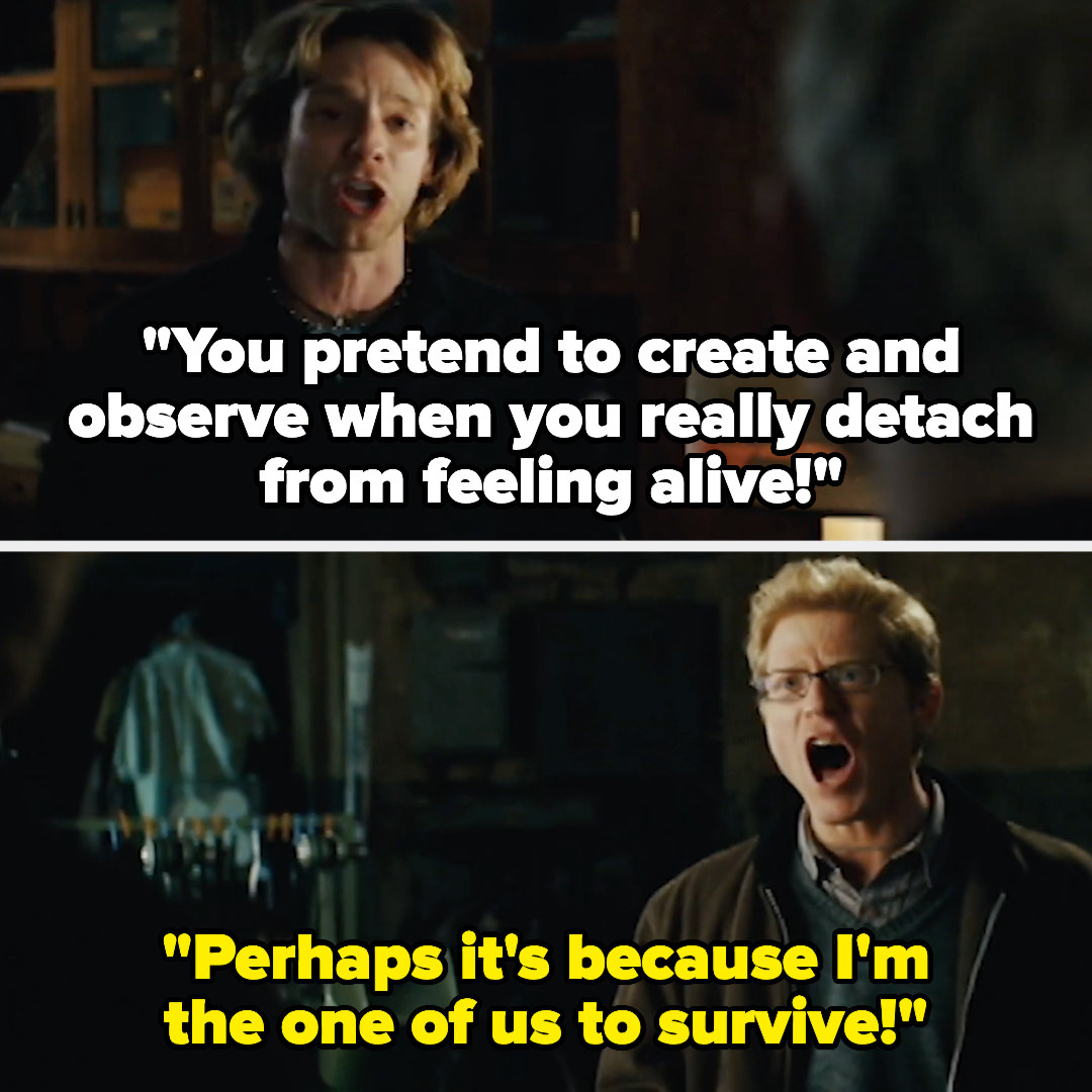 """In Rent, Roger sings """"you pretend to create and observe when you really detach from feeling alive"""" and Mark replies """"Perhaps it's because I'm the one of us to survive"""""""