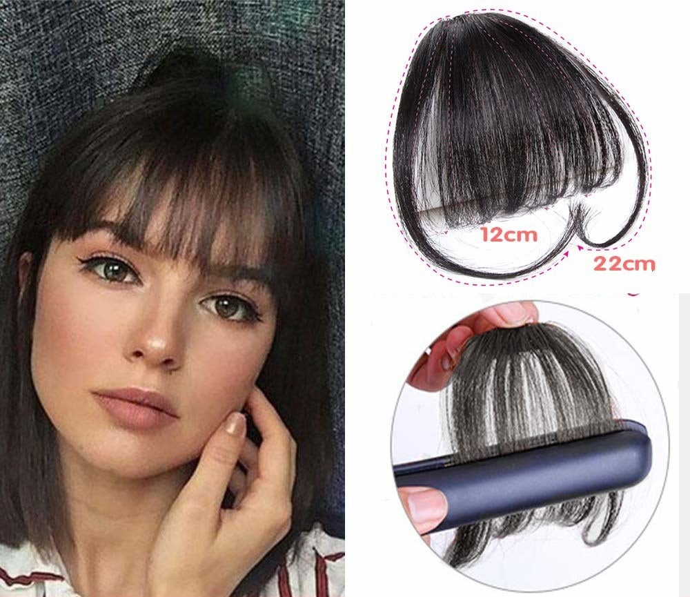 Image showing a person wearing the clip-on fringe on one side, and the other side showing the fringe itself and how to style it using a straightener.