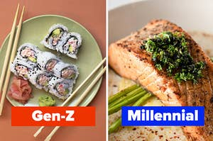"A sushi roll is on the left labeled, ""Gen-Z"" with a plate of salmon on the right labeled, ""Millennial"""