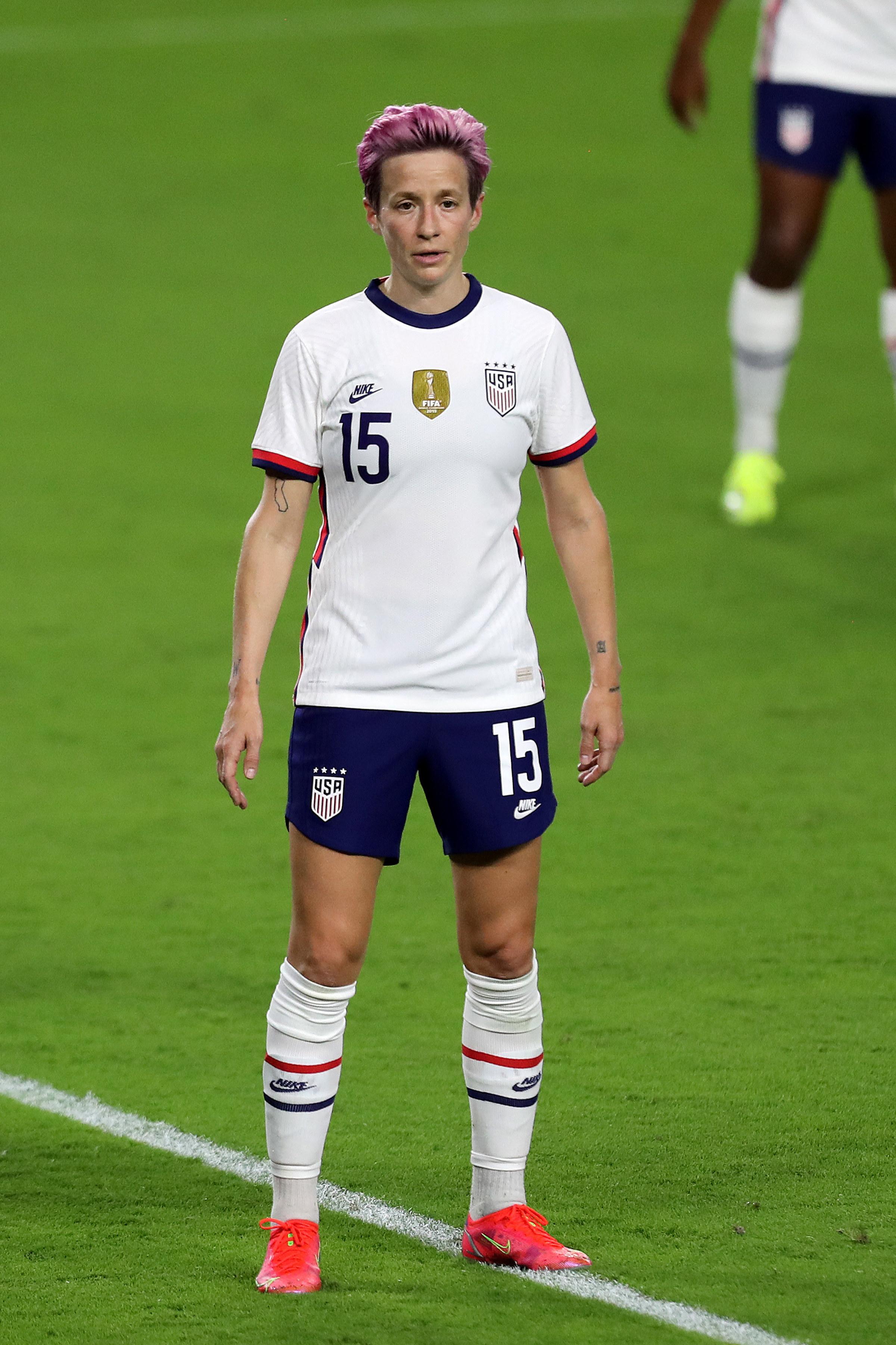 Present day Megan Rapinoe in U.S.W.S.T. uniform.