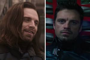 Bucky Barnes is on the left wearing long hair and on the right with short hair