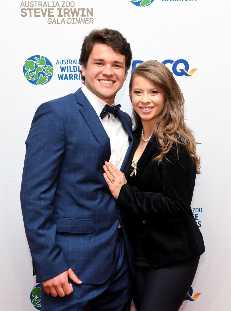 Chandler Powell and Bindi Irwin stand together at the Australia Zoo Steve Irwin Gala Dinner