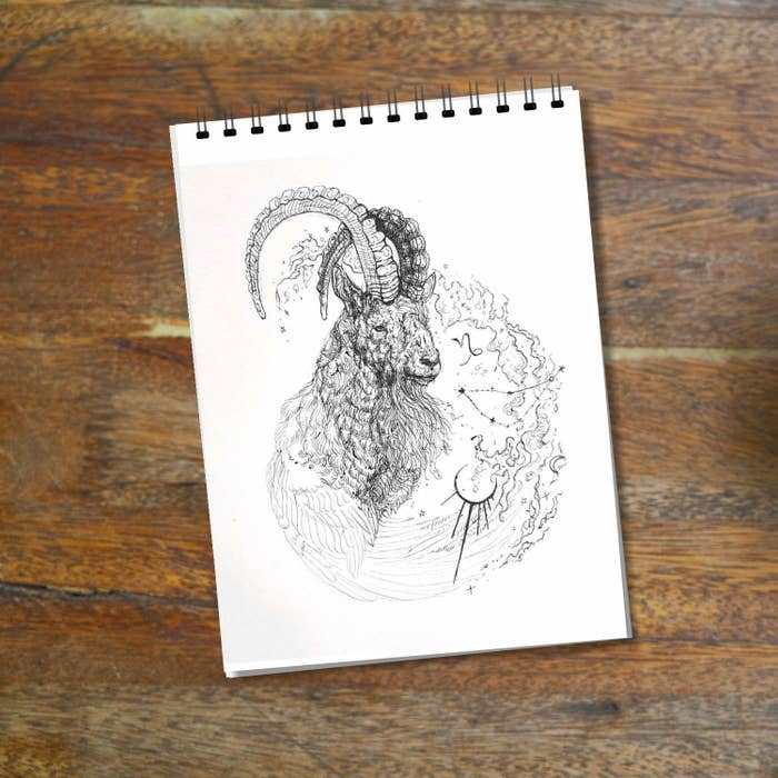 A drawing of a goat-like creature.