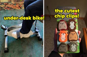 L: Reviewer strapped into under-desk bike R: Reviewer holding six bag clips shaped like cut woodland animals
