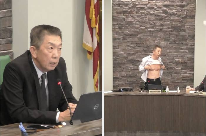 Side-by-side images of  Lee Wong speaking into a microphone and showing the scars on his chest