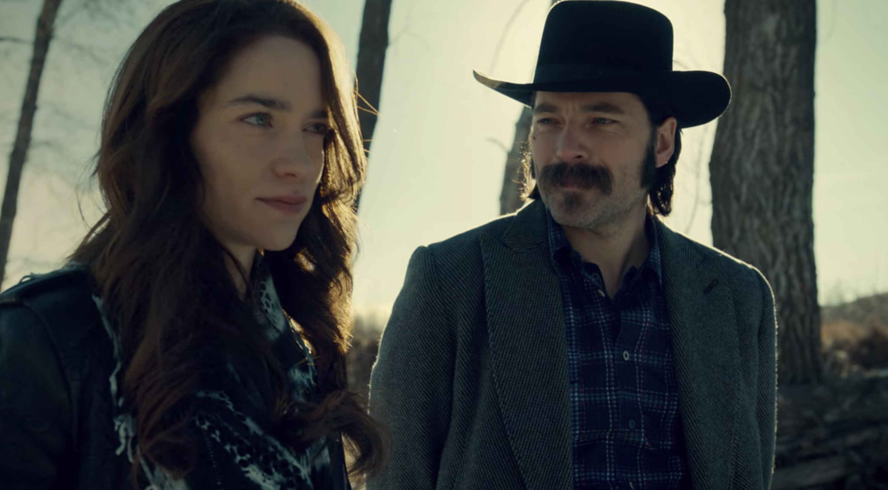 "Melanie Scrofano and Tim Rozon as Wynonna and Doc on ""Wynonna Earp"""