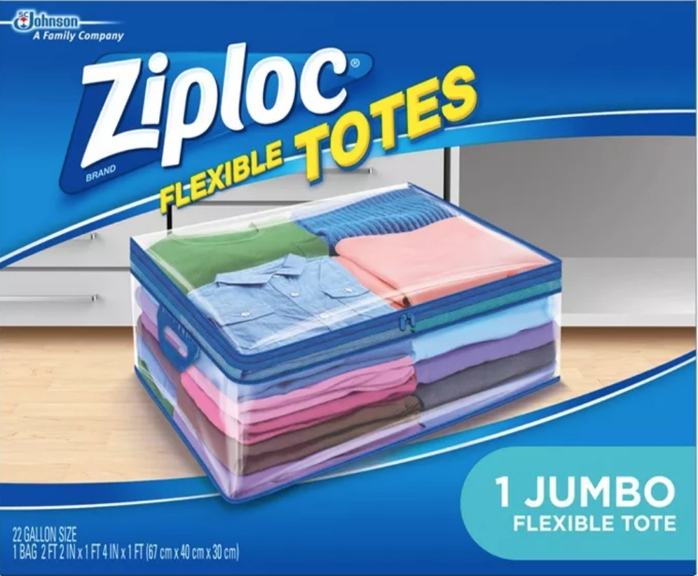A semi-transparent Ziploc tote bag perfect for storing items under beds, in closets, or on shelves