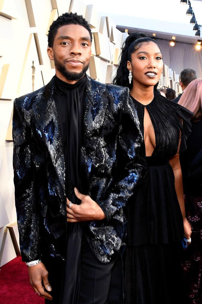 Chadwick Boseman and Taylor Simone Ledward attend the 91st Annual Academy Awards