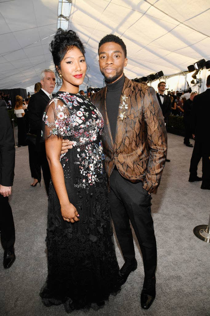 Taylor Simone Ledward and Chadwick Boseman attends the 25th Annual Screen Actors Guild Awards