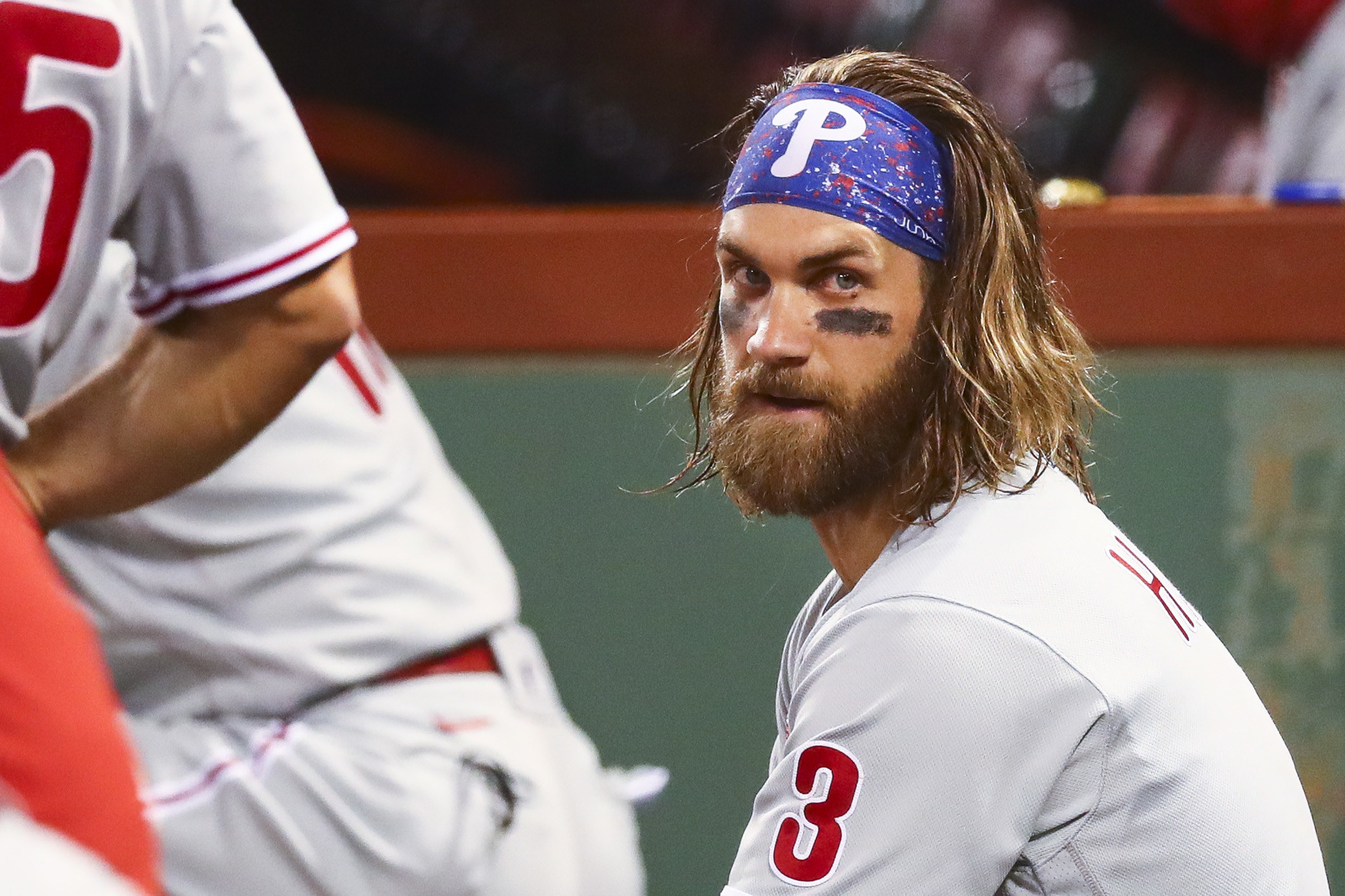 Bryce Harper in the Phillies' dugout.