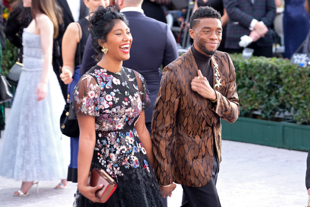 Taylor Simone Ledward and Chadwick Boseman attend the 25th annual Screen Actors Guild Awards
