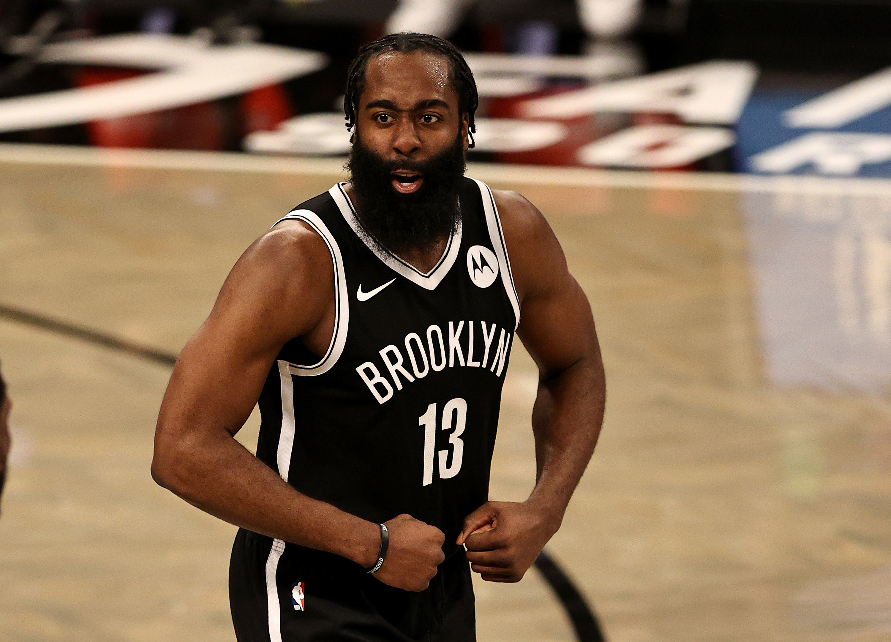 Present day James Harden flexing in a Nets jersey.