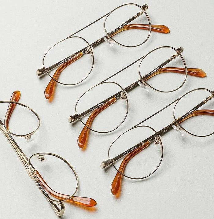 Four pairs of glasses laid out