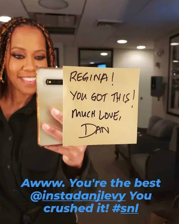 Regina King taking a picture of the note that Dan Levy left for her at Saturday Night Live
