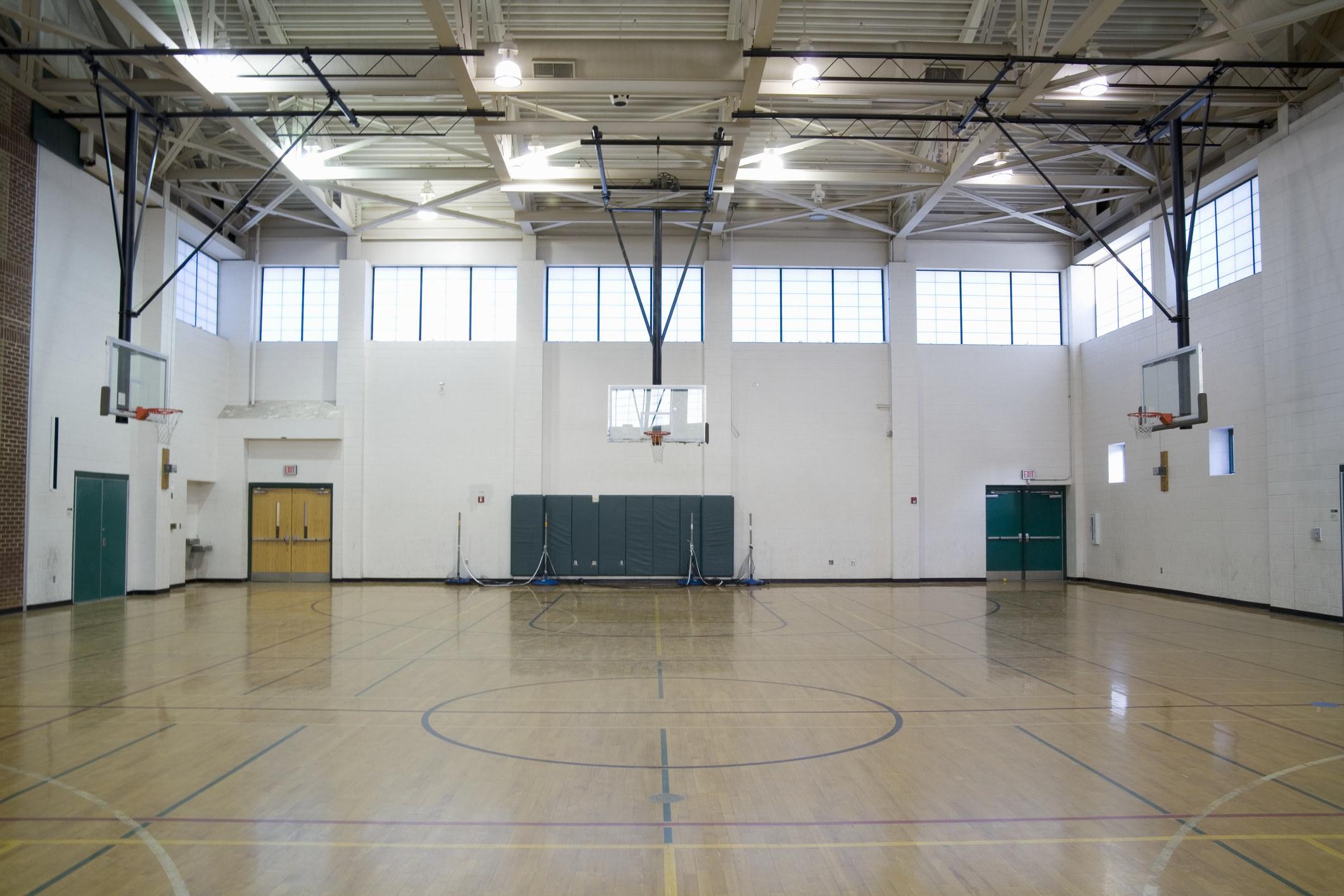 An empty school gym