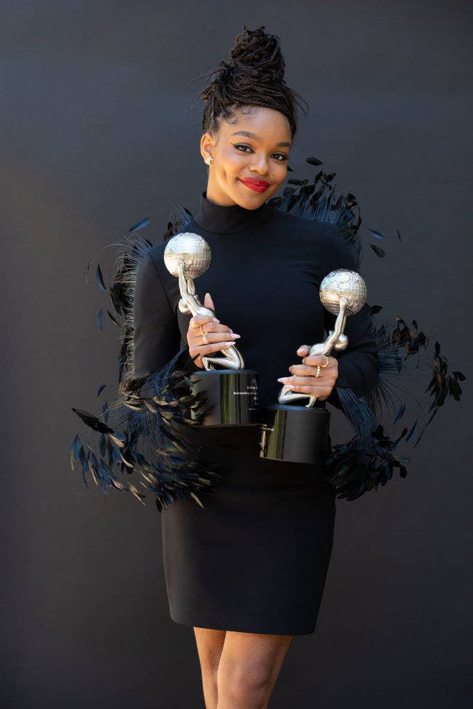 Marsai Martin holding her two 52nd NAACP Image Awards