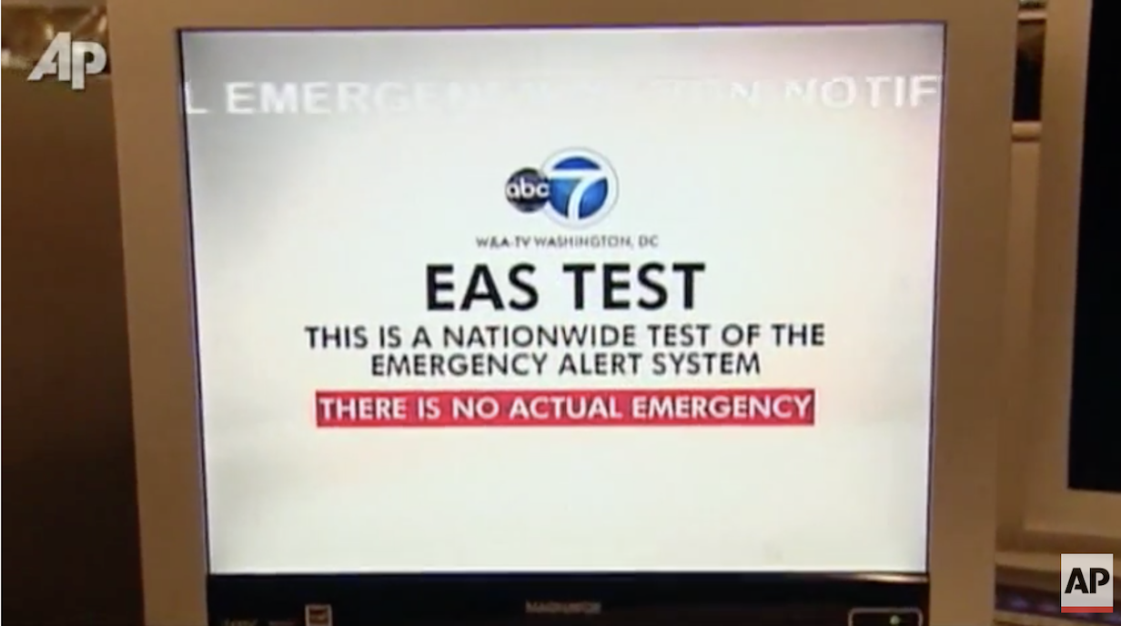 An emergency alert system test on a TV