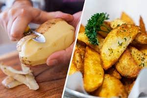 a raw potato next to some steak fries