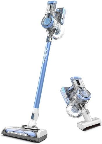 a blue stick vacuum