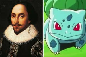 Side-by-side images of William Shakespeare and Bulbasaur