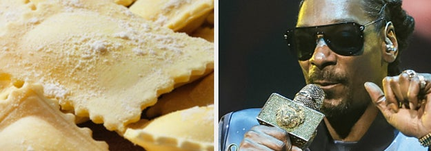 Side-by-side images of ravioli and Snoop Dogg
