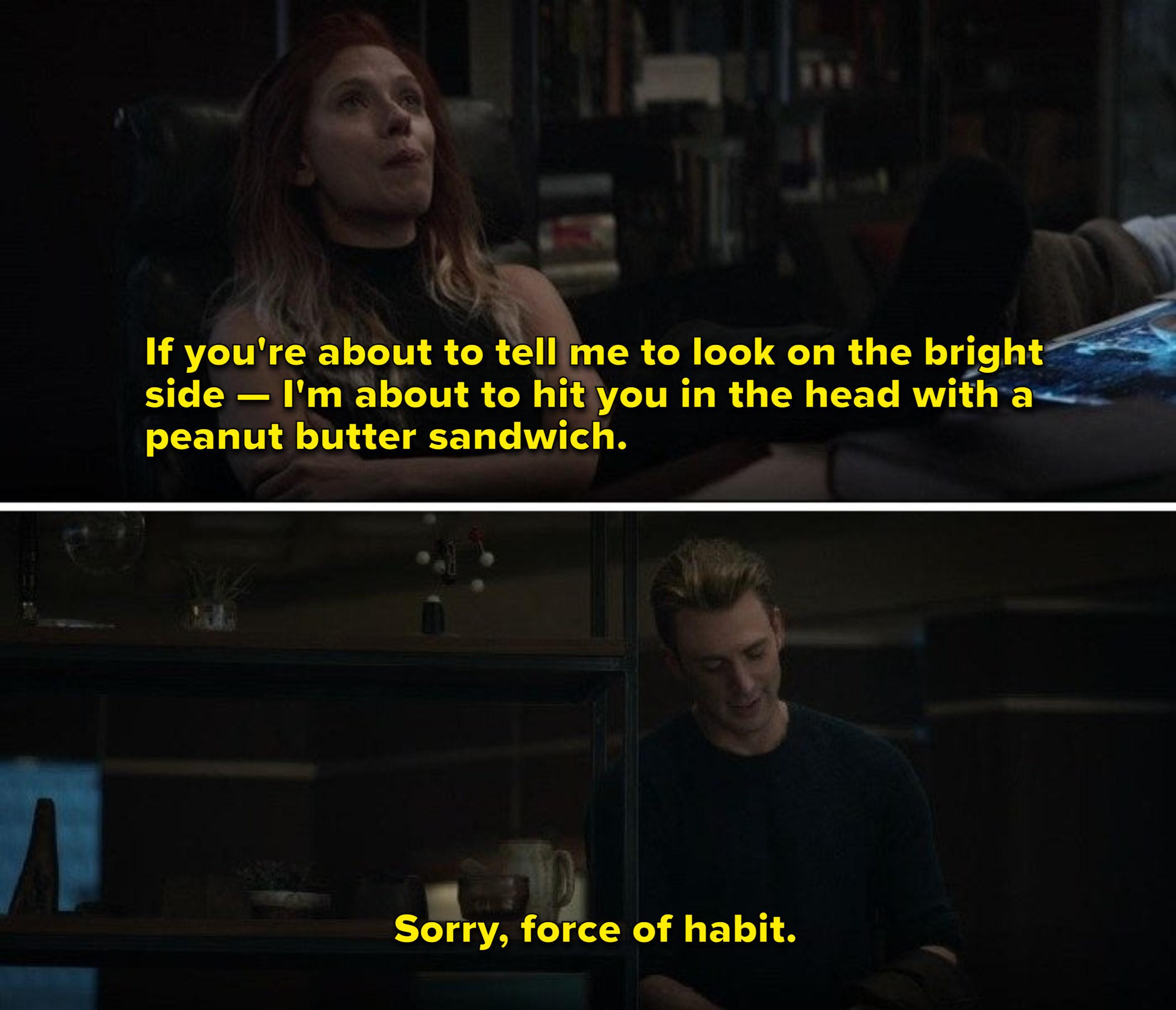 Natasha tells Steve that she'll hit him in the head with a peanut butter sandwich