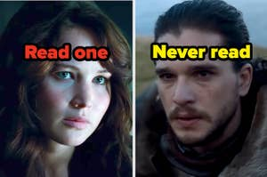 "Katniss Everdeen labeled ""Read one"" and Jon Snow labeled ""Never read"""