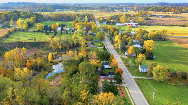 An aerial view of a small farm town in rural Wisconsin