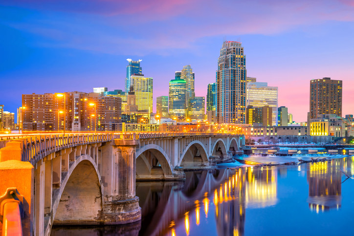 A view of the Minneapolis skyline at sunset
