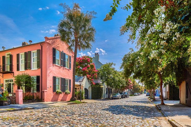 A cobblestone street in a historic district in Charleston