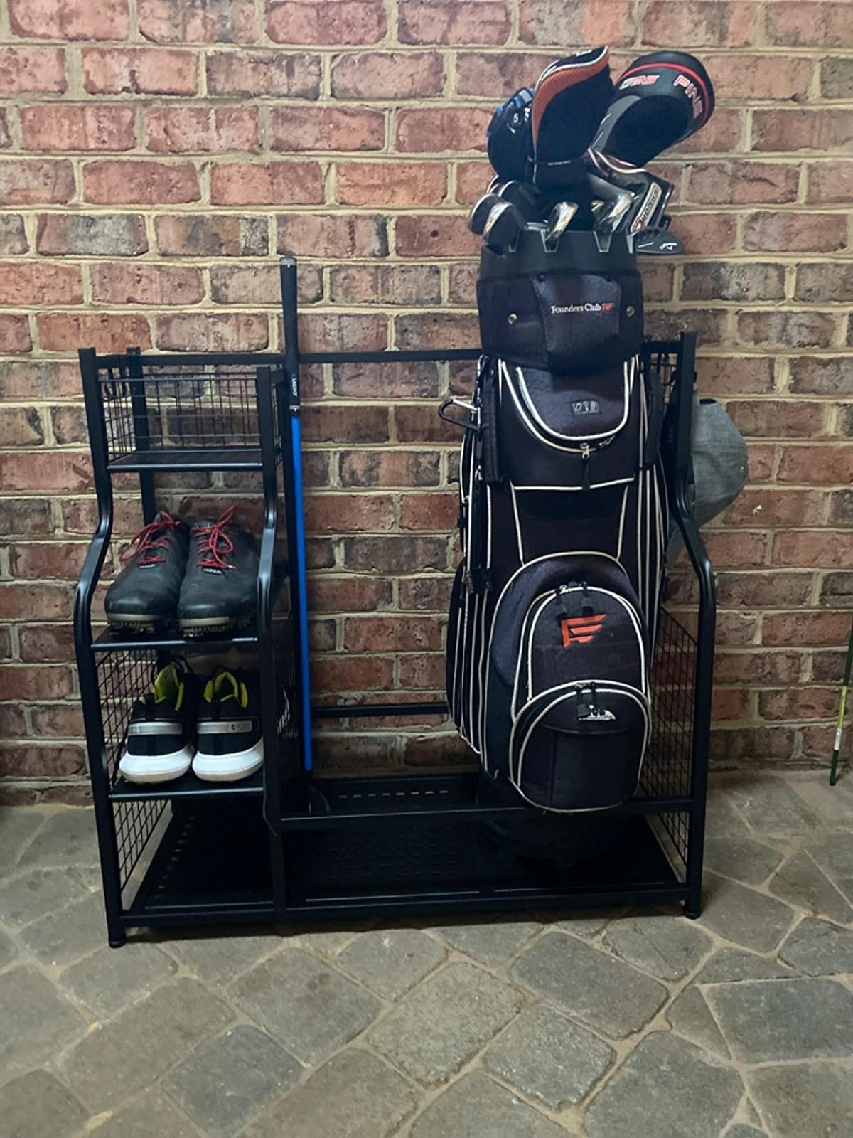 a reviewer's golf bag storage system