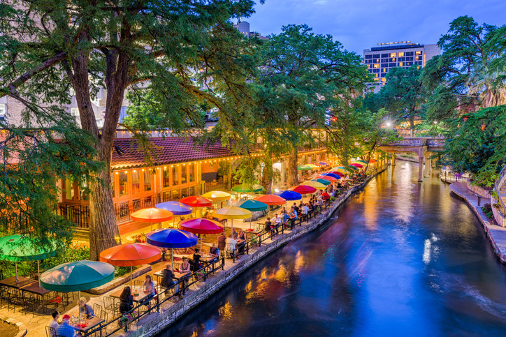 An aerial view of the river walk in downtown San Antonio