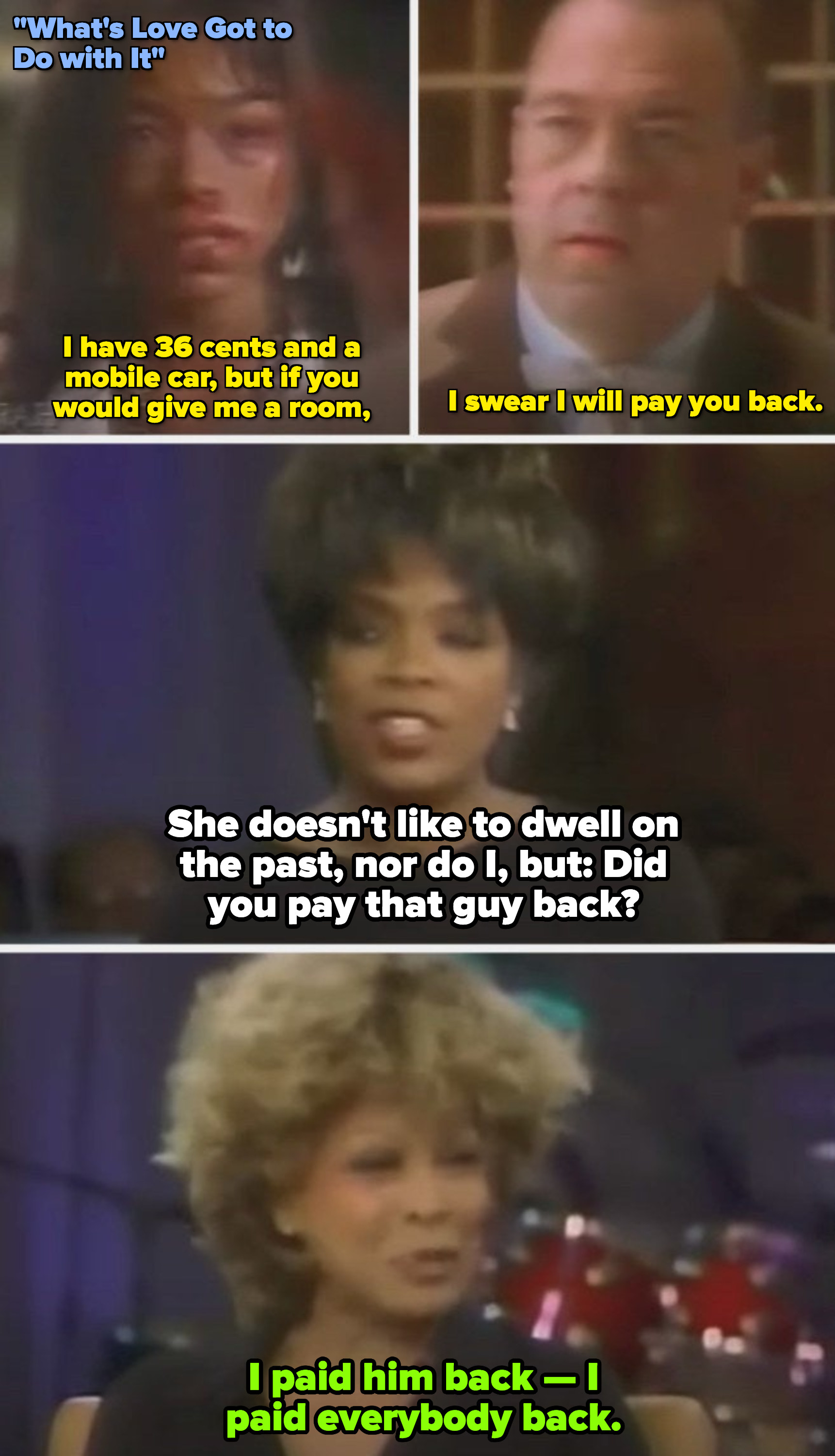 """Oprah airing a clip of Angela Bassett as Tina Turner in """"What's Love Got to Do with It,"""" bruised and bleeding on her face, on her show in the early 1990s"""