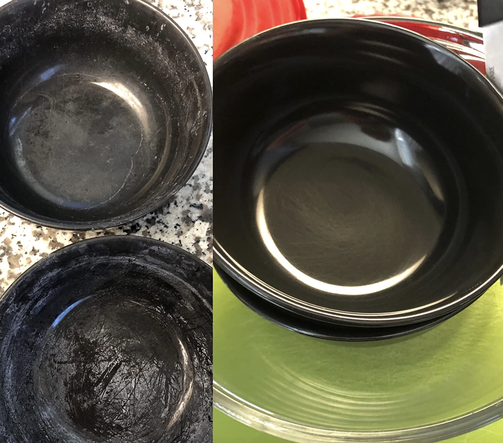 before image of bowls with hard water grime on dishes and after image showing clean bowls after ran in dishwasher with powder
