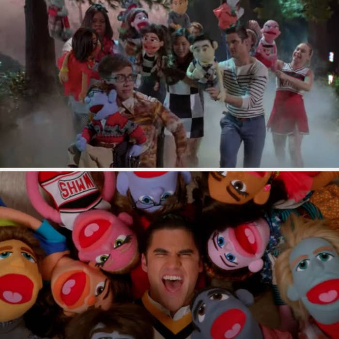 The Glee Club with puppets chasing Artie and Blaine singing with the Glee Club puppets on Glee