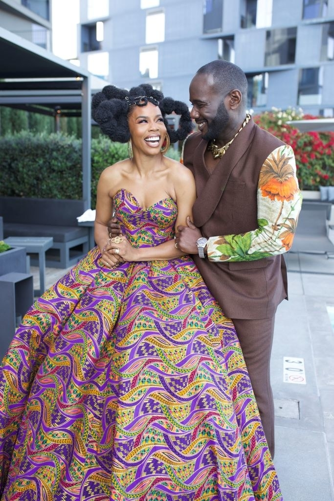 Brandee Evans and Nicco Annan get ready for the 52nd NAACP Image Awards