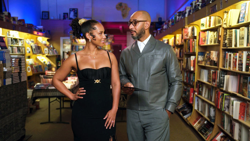 Presenters Alicia Keys and Swizz Beatz speak during the 52nd NAACP Image Awards