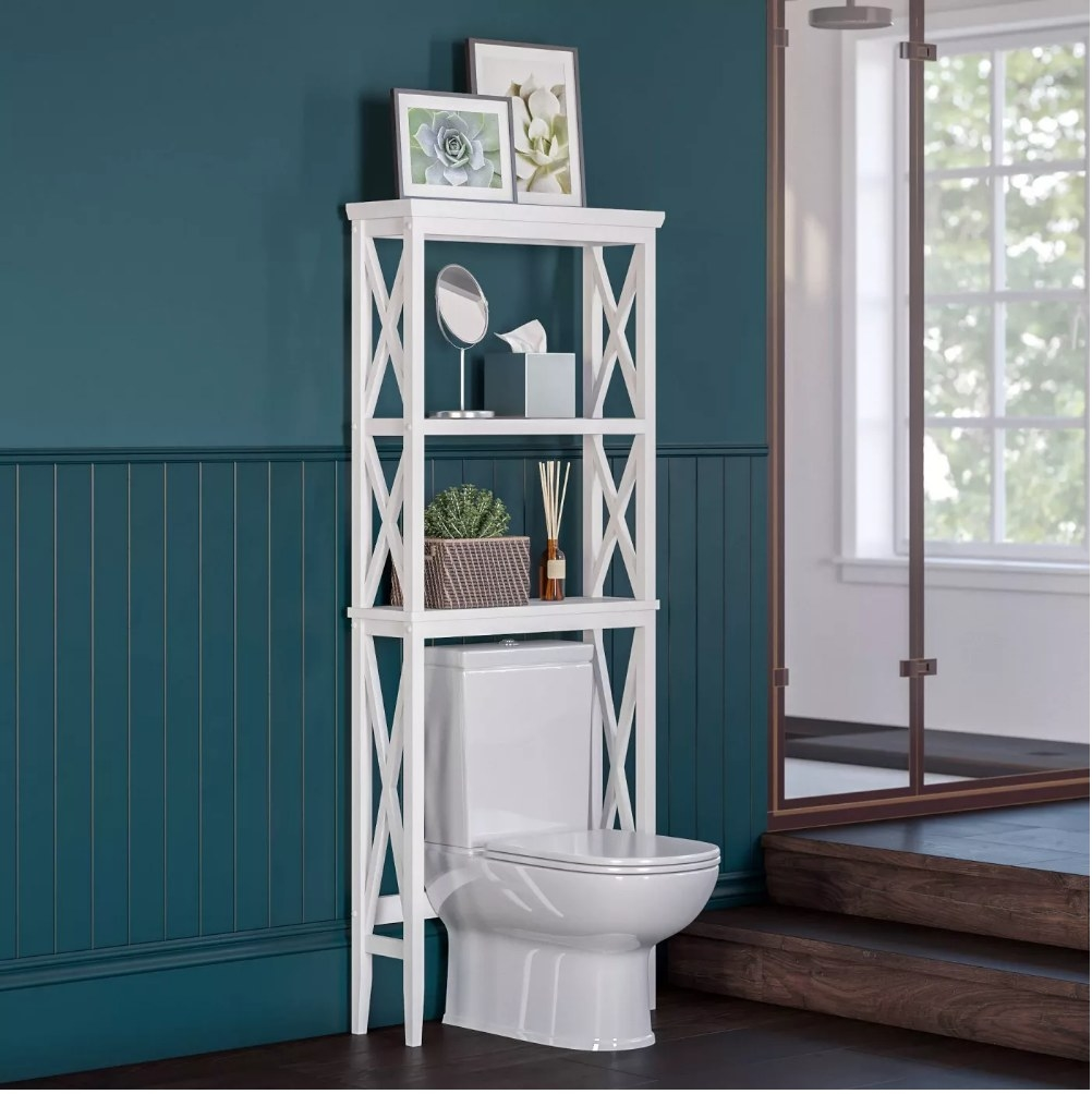 A 3-tier shelf that fits perfectly over the toilet to store bathroom products such as towels, soaps, tissues, etc