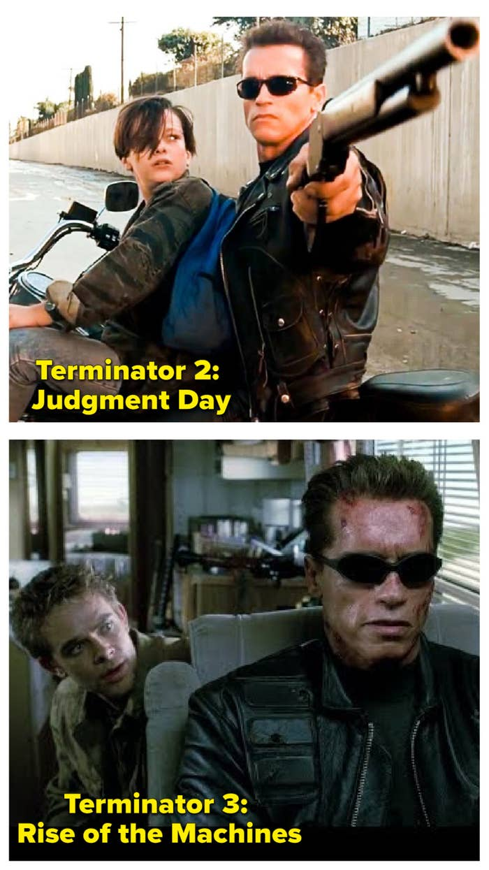 Schwarzenegger and Furlong in T2 and Schwarzenegger and Stahl in T3