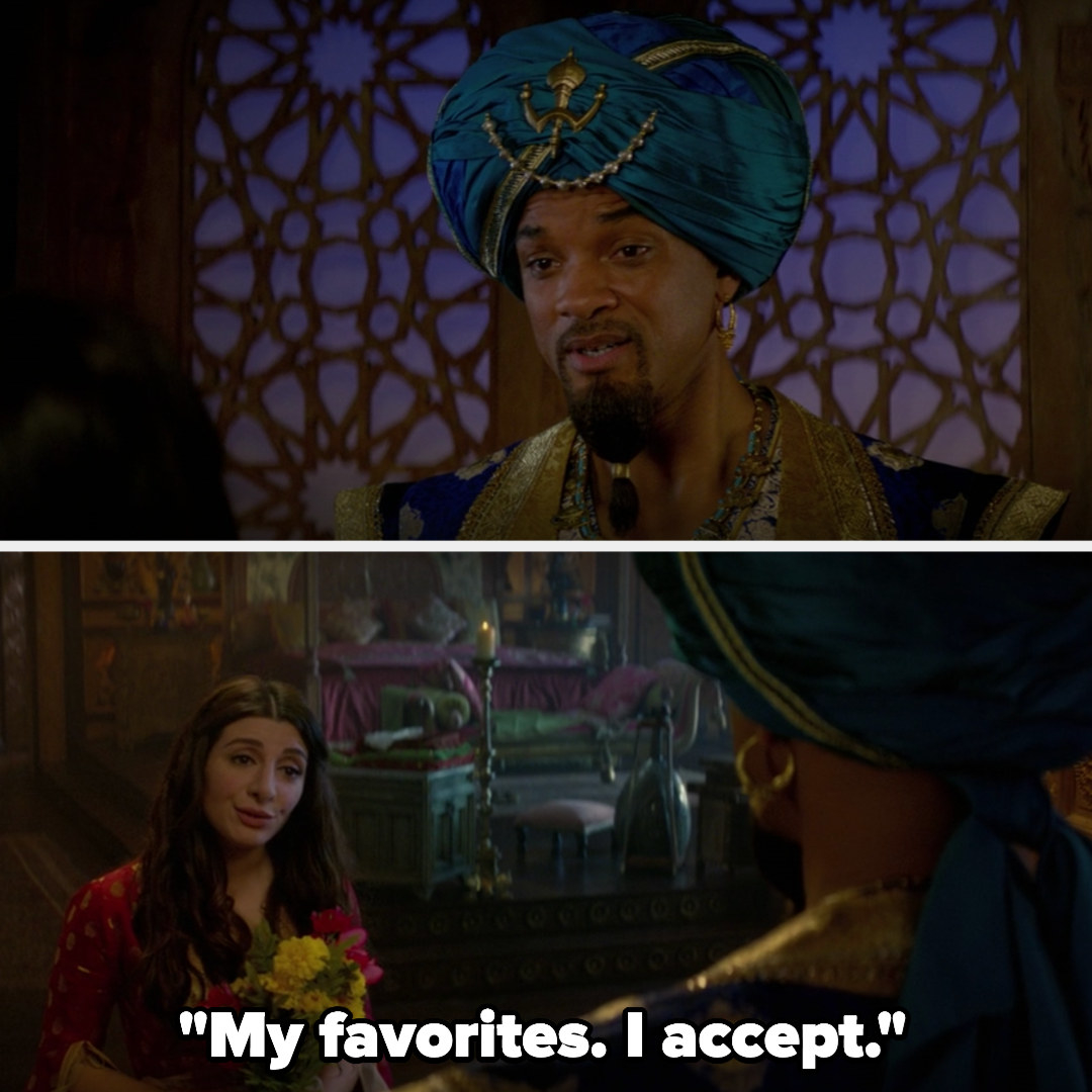 The Genie gives Dalia flowers, which she accepts