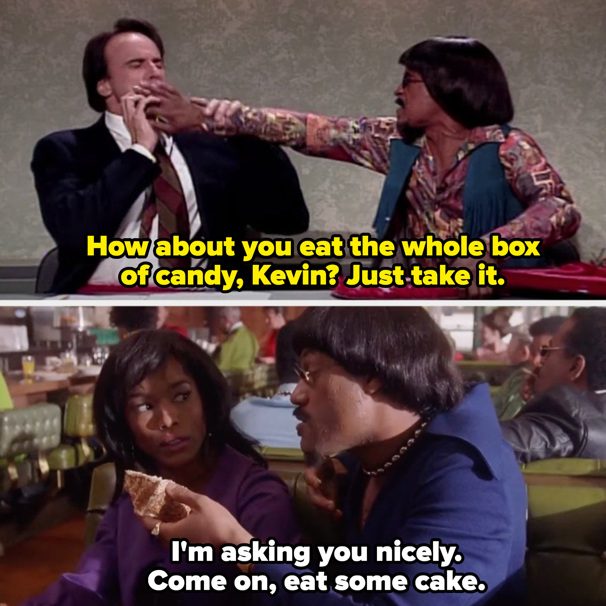 """Tim Meadows as Ike Turner shoving a box of candy in Kevin Nealon's face; Laurence Fishburne as Ike Turner in """"What's Love Got to Do with It"""" shoving cake in Tina Turner's mouth (played by Angela Bassett)"""