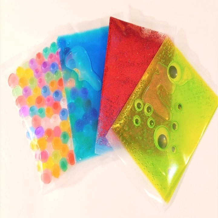 four panels with rainbow balls, green slime and googly eyes, red slime, and red glitter slime