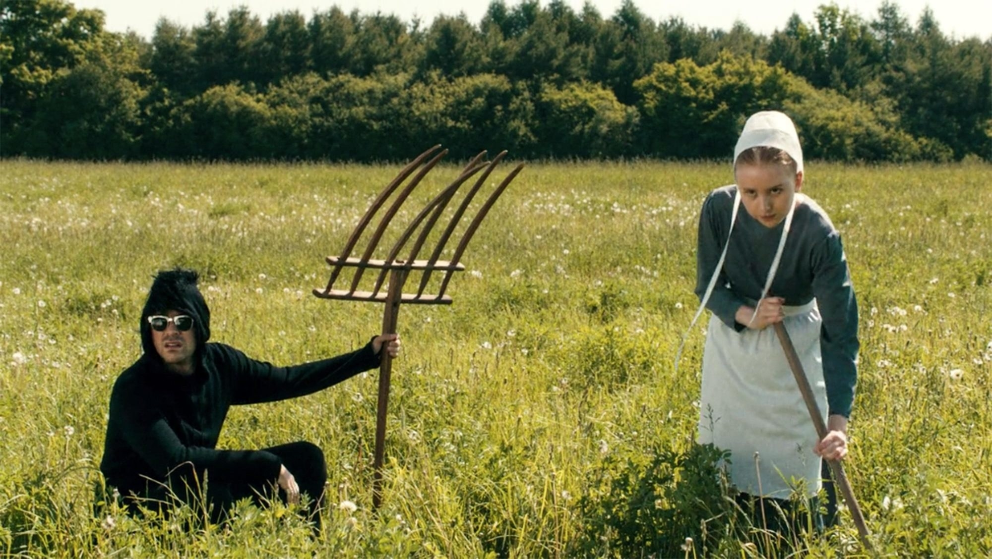 David and Amish girl in field
