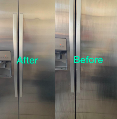 Stainless steel fridge with no stains after using product and wipe stains before