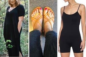 plus size reviewer in maxi dress, reviewer in flat neutral sandals, model in bodysuit romper