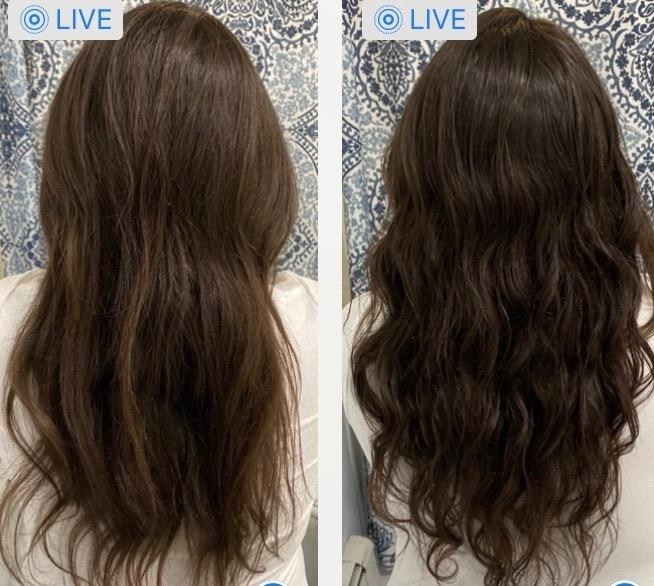 a reviewer's hair with some light highlights in it next to the after photo of their hair looking darker brown