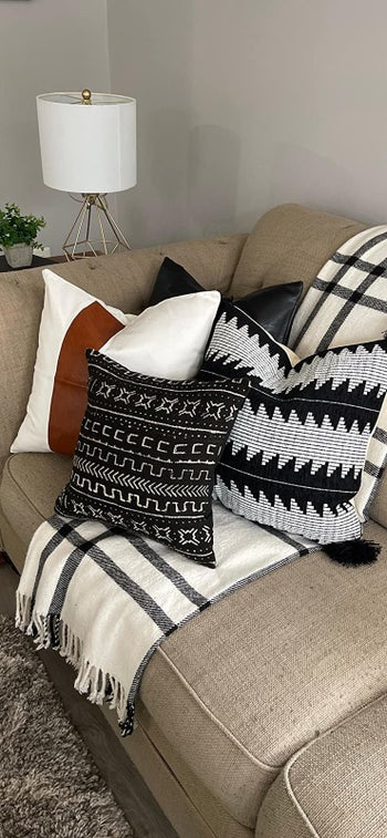 the pillows on a reviewer's couch