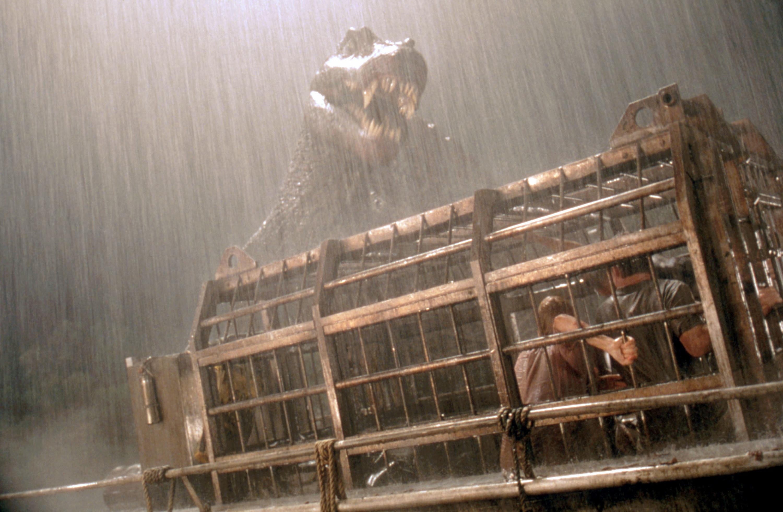 The spinosaurus attacks the boat