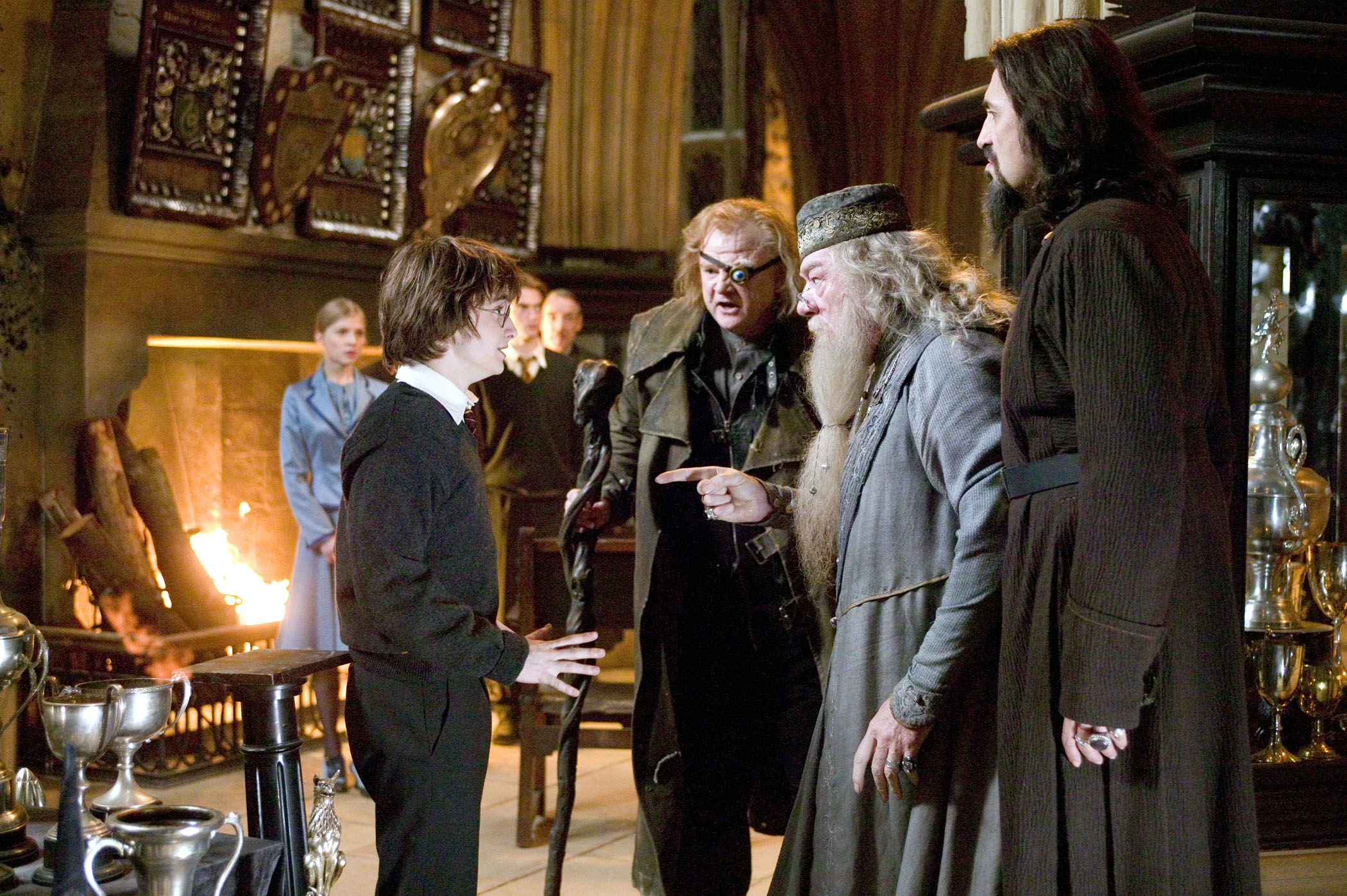 Dumbledore confronts Harry about entering his name in the goblet