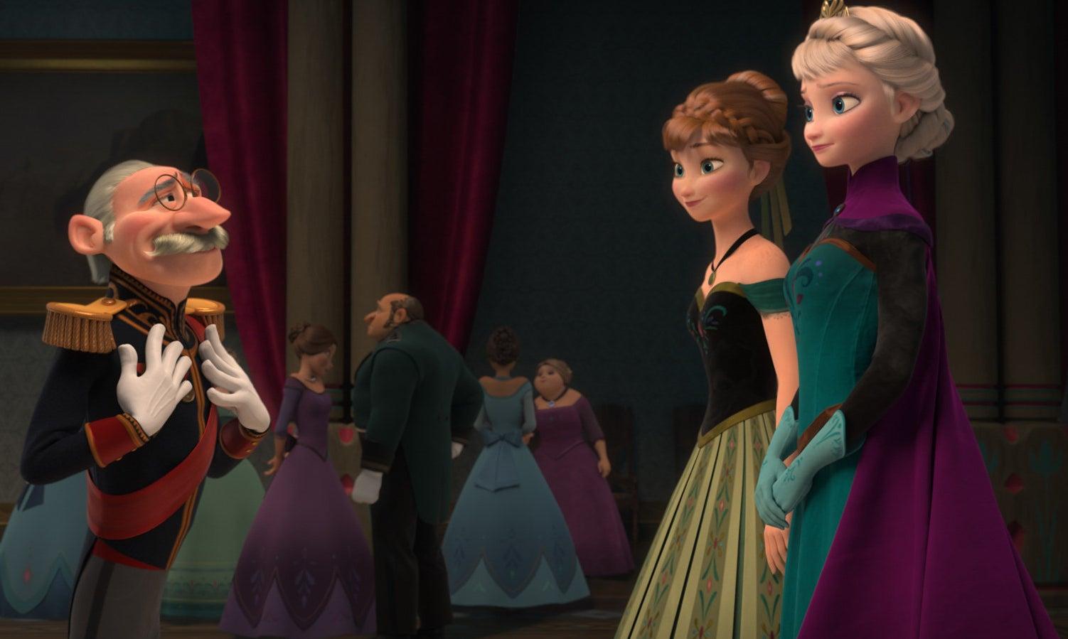 Elsa and Anna speak to the Duke